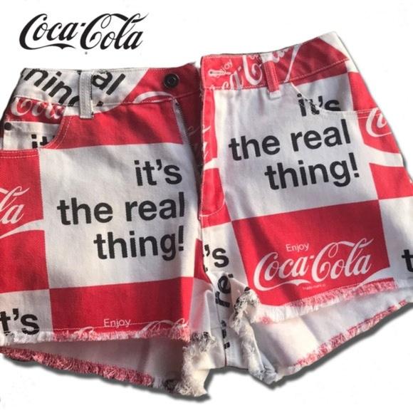 Coca Cola Pants - Coca Cola High Waist Jean Shorts